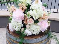 Ceremony Flowers on Wine Barrels